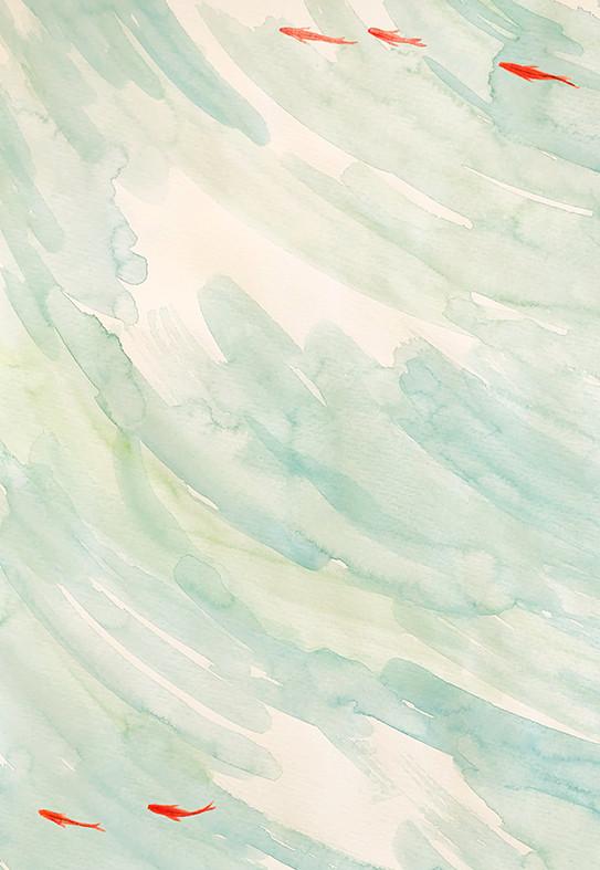 趣味 墨彩画 水辺