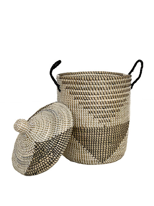 Woven Seagrass Laundry Basket with Lid