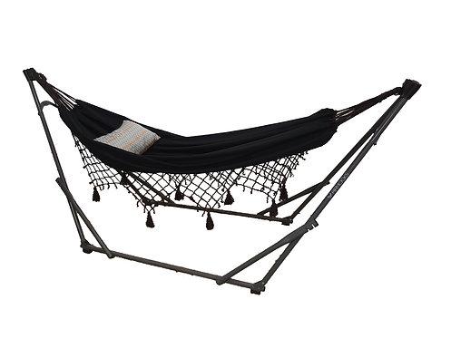 Dual Function Brooklyn Black Crochet + Grey Swing Chair