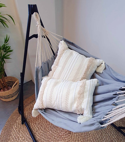 Knitted Woven Tassel Cushion Cover (Cream)