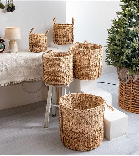 Handwoven Seagrass Round Handle Baskets