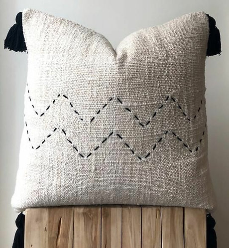 Chevron Woven Jute Cushion Cover