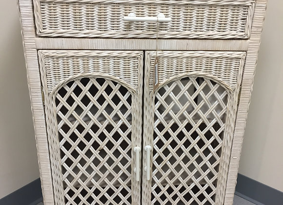 White Wicker Bathroom Hutch