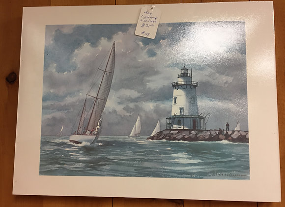 Lighthouse with Sailboat Painting