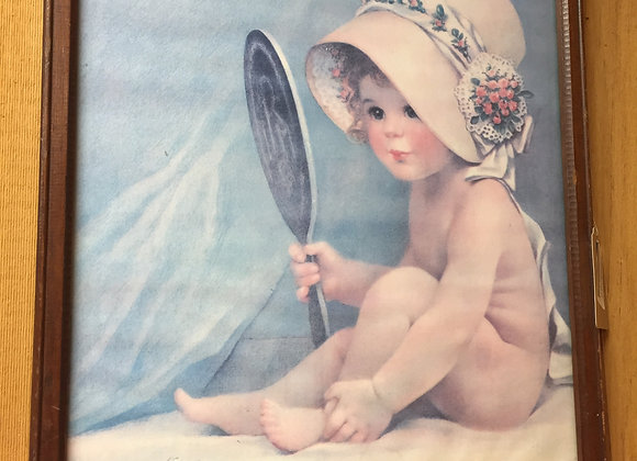 Baby Looking Into Mirror Painting