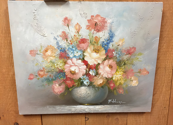 Pink Flowers in Gray Vase Painting
