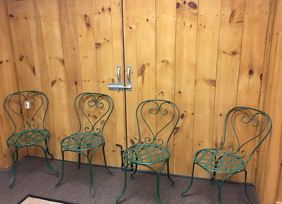 Set of 4 Iron Green Chairs