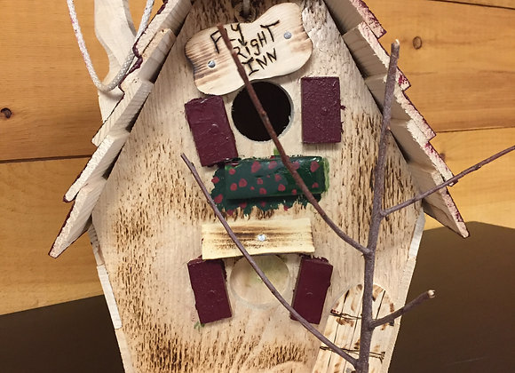 """Fly Right In""Shingled Bird House - Red"