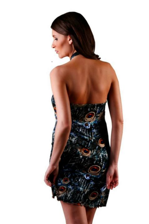 Blue Peacock Short Dress