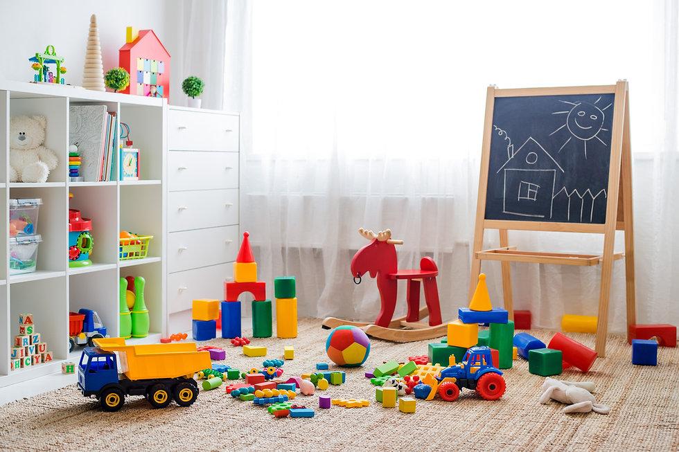 Children's playroom with plastic colorfu