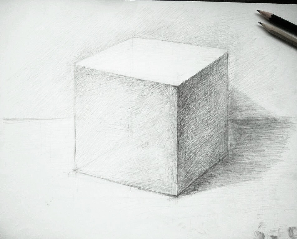 Plaster cube drawing