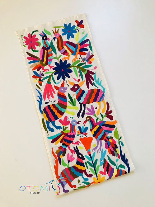 Otomi table runner with animal embroidery