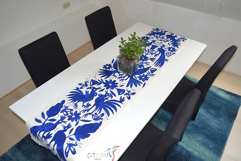 Blue Table Runner hand embroidery in Otomi fabric