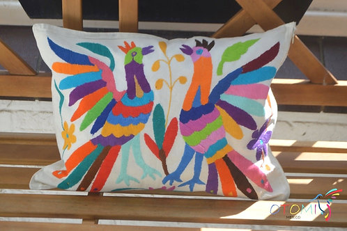mexican embroidered pillow in multicolor with a birds animal
