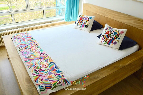 Mexican Embroidered Otomi Bed Runner - Multicolor