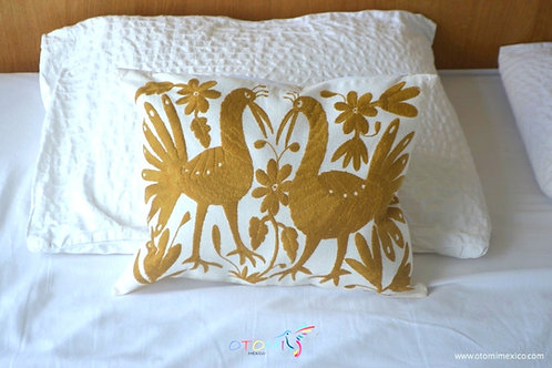 mexican embroidered pillows with animal design in gold