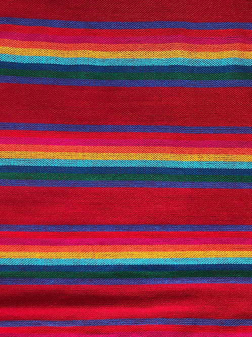 red mexican fabrics by the yard with multicolor lines