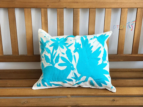 Embroidered Otomi pillowcase -Light Blue