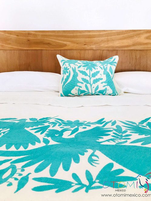 Mexican Embroidered Bedding Set - Turquoise