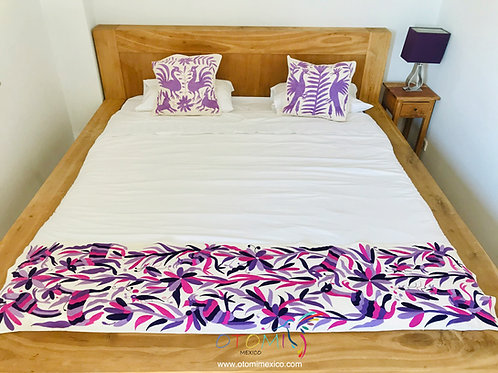 Otomi embroidered Bed Runner with animal designs in pink and purple