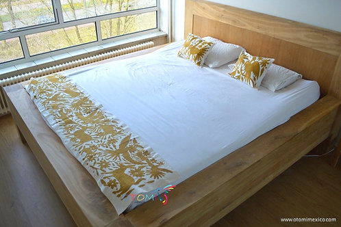Otomi Bedding Set and otomi pillows in gold
