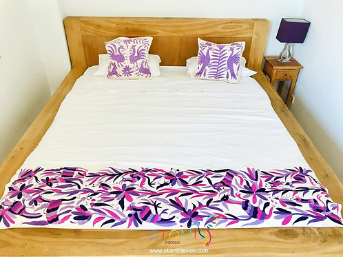 Otomi embroidered Bed Runner - Purple & Pink
