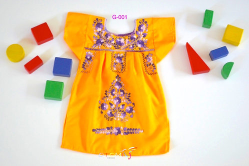 Mexican Girls Dress in yellow - Emma