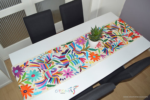 Otomi table Runner hand embroidery with animals