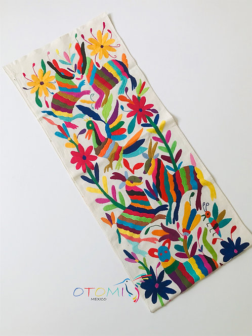 Otomi table runner with birds and flowers
