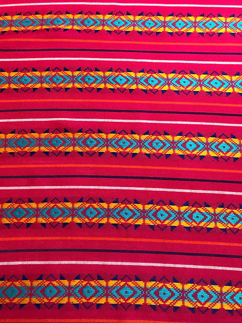 mayan textile in pink with geometrical multicolor pattern