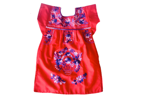 Baby Mexican Dress in red
