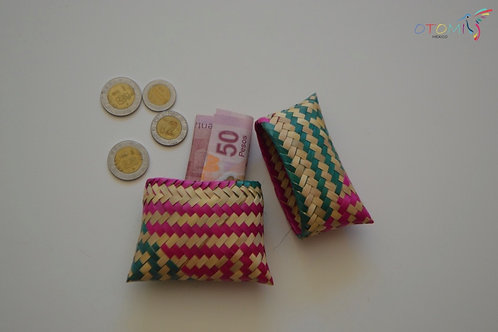 Green & Pink Straw Coin Purse