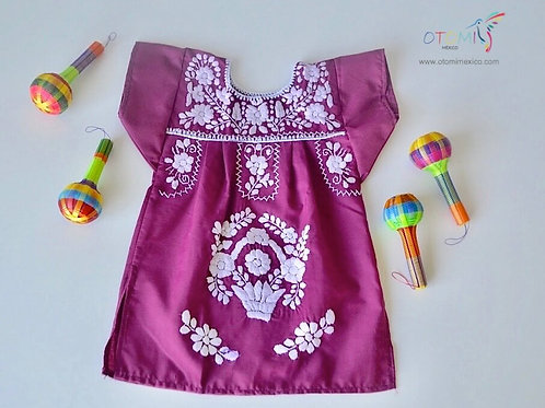 Mexican Baby Dress in wine with white