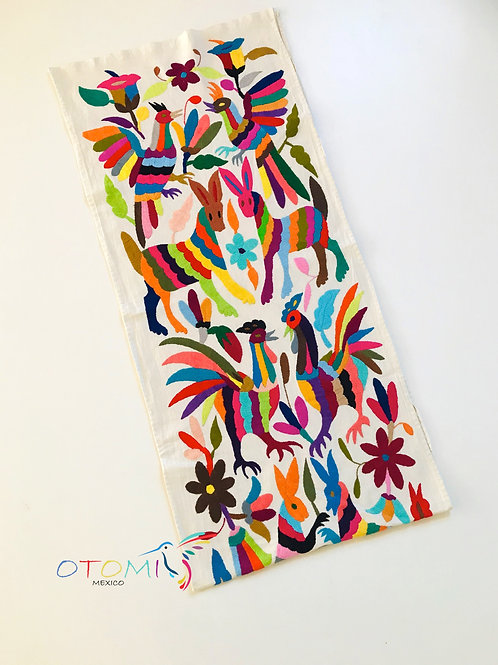 Animal Table runner with hand embroidery animal designs
