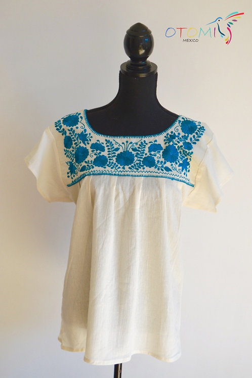 Mexican Embroidered Blouse in blue