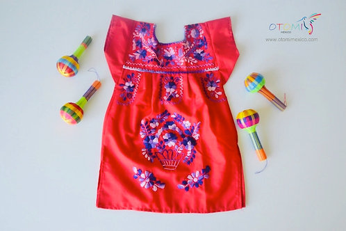 Mexican Dress Baby Girl in Red with floral designs