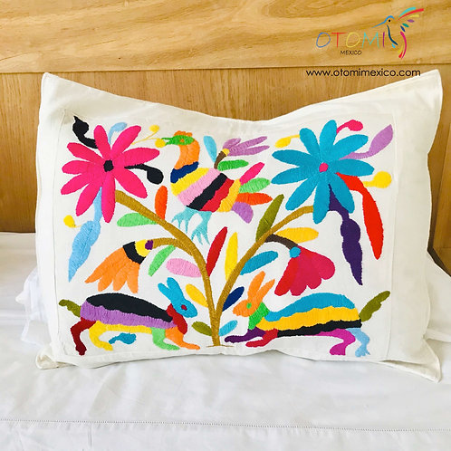 otomi pillow cover with a multicolor animal design