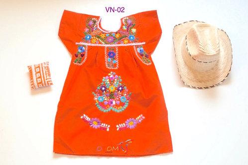 Orange Mexican dress- Fer