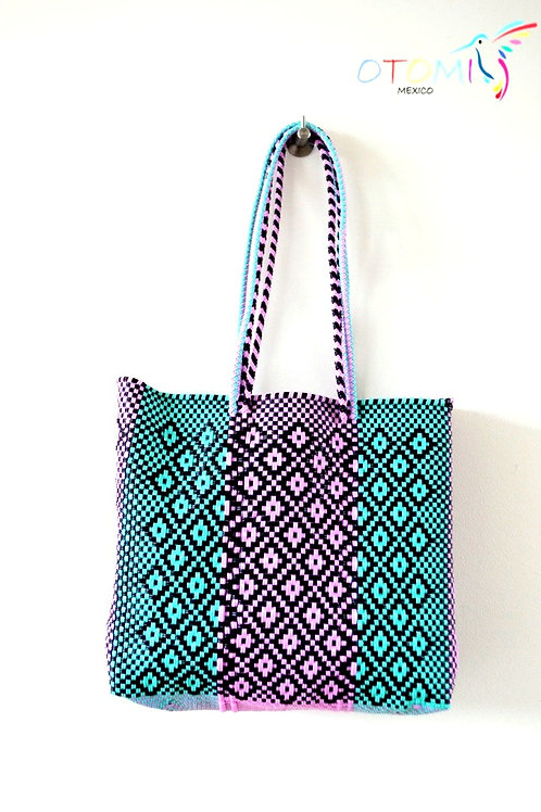 mexican beach bag in turquoise
