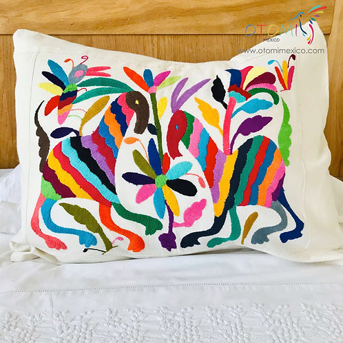 mexican pillow cover in multicolor with animal design