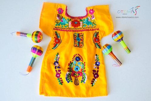Mexican Dress Baby Girl -Tangerine - Elena