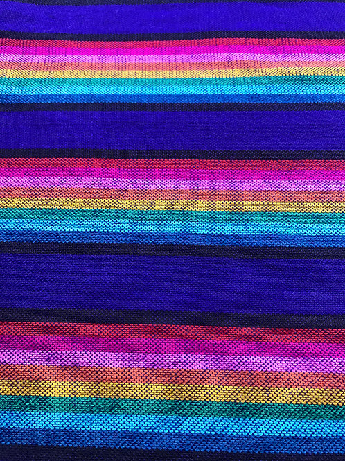 textiles of mexico in blue with multicolor lines