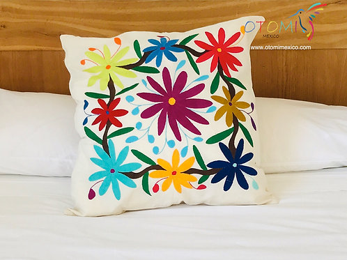 otomi pillow cover with floral embroidery in multicolor