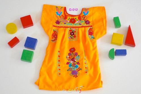 Mexican Girl Dress Tangerine - Maya