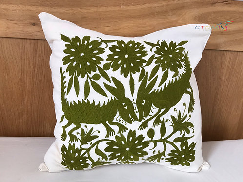 boho throw pillow cover in army green with an animal design