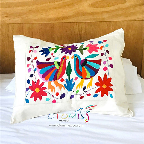 Embroidered Bird pillow cover - Multicolor