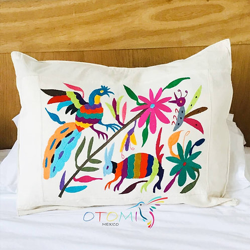 Embroidered Mexican Pillow cover - Rabbit