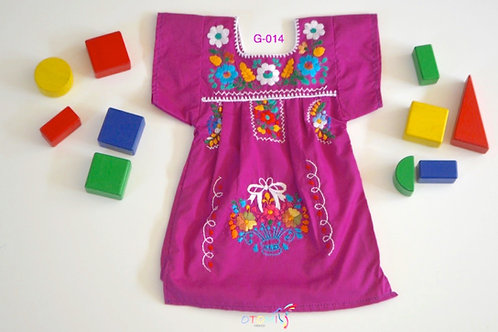 Embroidered Mexican Dress in purple - Julia
