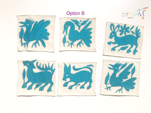 Mexican Coasters in light blue   Embroidered table coasters