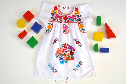 Embroidered Dress in White - Frida